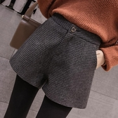 格子褲毛呢短褲女秋冬季韓版高腰闊腿格子A字寬鬆顯瘦外穿靴褲春季特賣