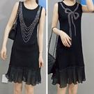 夏季時尚新款黑色彈力針織無袖釘珠修身洋裝...