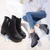 秋冬季新款歐美短靴女靴子加絨百搭粗跟性感高跟鞋及踝靴女鞋 韓慕精品