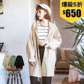 立領雙口袋軍裝外套-N-Rainbow【A388570】