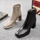 馬丁靴 中筒靴 2021秋冬新款高跟短靴女及踝靴粗跟方頭側拉鏈馬丁靴女加絨