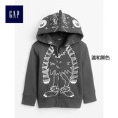 Gap男嬰幼童 趣味潮流印花圖案怪獸連帽長袖運動衫373677-溫和黑色