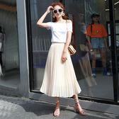 85折百褶裙小清新高腰雪紡半身裙-2色99購物節