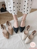涼鞋女顯瘦外夏季新款百搭包頭平底一字帶尖頭鞋【大碼百分百】