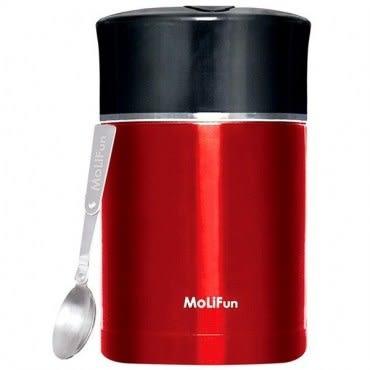 MoliFun魔力坊 不鏽鋼真空專利附內碗保鮮保溫悶燒罐/便當盒1800ml 貴族紅