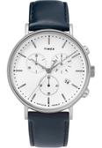 TIMEX 天美時 白面三眼碼表計時深藍色皮帶錶 41mm 冷光夜光面板 TW2T32500 公司貨 | 名人鐘錶