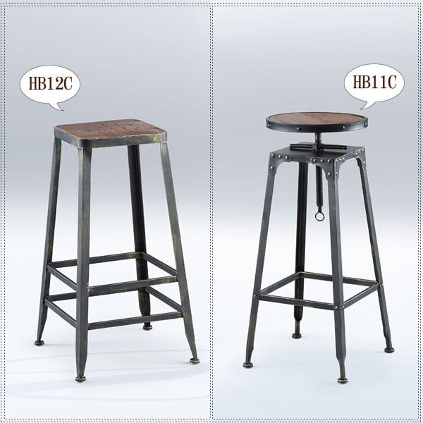 【水晶晶家具/傢俱首選】 HB11C工業風黑鐵砂腳可升降吧椅(右圖) CX8700-7