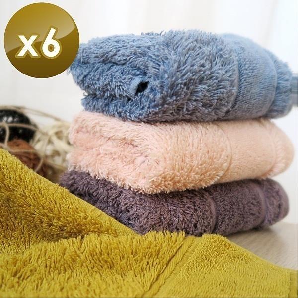 【南紡購物中心】【HKIL-巾專家】簡約歐風蓬鬆加厚款純棉毛巾-6入組