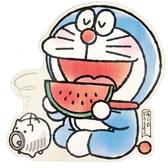 小禮堂 哆啦A夢 日製 造型萬用卡片 明信片 賀卡 (藍 西瓜) 4550337-53953
