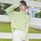 快速出貨 針織毛衣冬新款韓版高領麻花毛衣女保暖寬鬆上衣純色打底針織衫 【2021新年鉅惠】