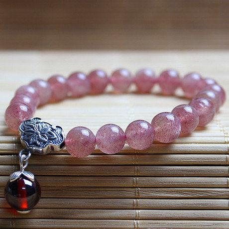 水晶手鏈薔薇石草莓晶手鏈  8mm