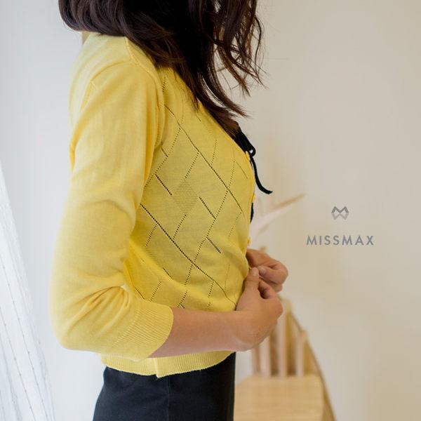 菱格紋簍空針織小外套天絲+蠶絲+棉!專櫃品質