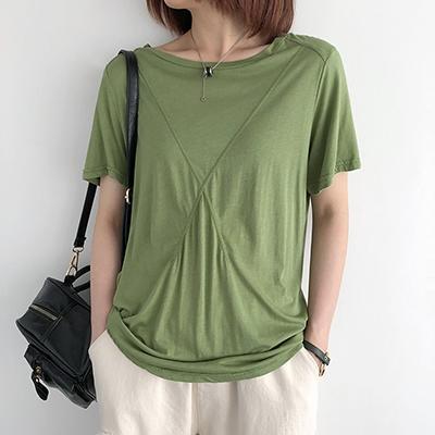 純棉T恤女 圓領短袖上衣 純色打底T恤/5色-夢想家-0330