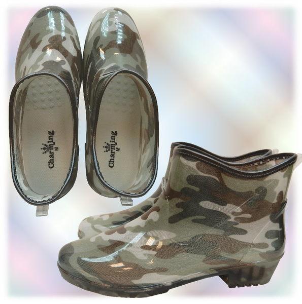 【波克貓哈日網】日本進口雨鞋◇短靴式造型◇《綠色迷彩圖案》抗菌防水~含運