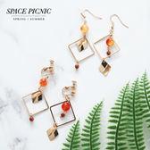 耳環 Space Picnic|預購.簡約復古幾何方型耳針/耳夾【C18072007】
