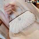 手拿包 2021新款珍珠包宴會手拿包韓版鑲鉆女包斜跨錬條小包禮服新娘包包 榮耀上新
