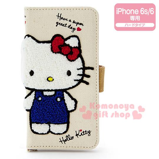 〔小禮堂〕Kitty iPhone6s/6 棉質掀蓋式裝飾殼《白.站姿.刺繡》4901610-68529
