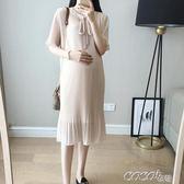 孕婦洋裝 夏裝裙子孕婦連身裙短袖中長款夏時尚款雪紡百褶長裙 coco衣巷