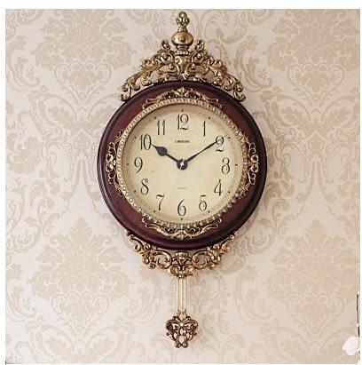 小鄧子歐式掛鐘客廳創意擺鐘靜音時尚復古壁鐘裝飾鐘錶時鍾家庭掛鐘奢華(16寸)