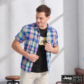 【JEEP】多彩格紋短袖襯衫(粉藍)