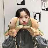 少女心冬季保暖卡通掛脖手套學生可愛鱷魚手套女加厚毛絨全指手套