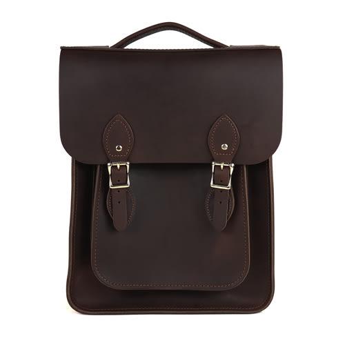 【The Leather Satchel Co.】英國原裝手工牛皮經典後揹包 手提包 後背包 新款磁釦設計(原色深咖啡)