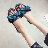 露趾一字拖女夏季新款韓版蝴蝶結外穿涼拖鞋純色軟底沙灘鞋子 樂芙美鞋