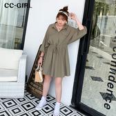中大尺碼 襯衫領口袋連身褲裙~共兩色 - 適XL~4L《 68276HH 》CC-GIRL
