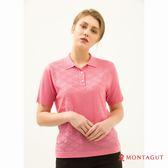 女款短袖上衣 POLO衫 夢特嬌法國製造亮絲系列 簡約緹花-粉紅