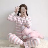 秋季2019新款珊瑚絨睡衣女兩件套韓版可愛寬鬆長褲休閒家居服套裝    依夏嚴選