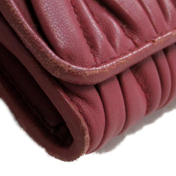 miu miu 繆繆 珊瑚粉色羊皮抓皺ㄇ字型長夾 【二手名牌BRAND OFF】