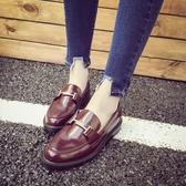 韓版TT扣圓頭紳士小皮鞋 一腳蹬粗跟休閒平底鞋《小師妹》sm1341