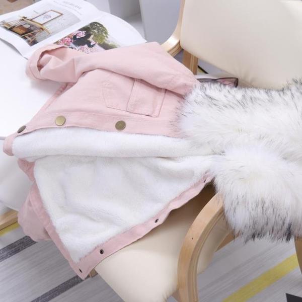 2020冬裝大毛領羊羔絨短款牛仔外套女韓版寬鬆加絨加厚棉衣棉服