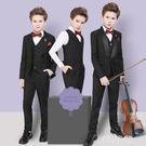 兒童西裝 男童西裝帥氣英倫黑色中大童兒童西裝套裝男三件套韓版花童禮服男 韓菲兒