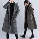 微購【A4610】千鳥格連帽針織長版外套...