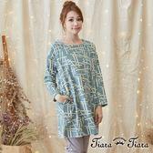 【Tiara Tiara】激安 幾何線條長袖純綿洋裝(藍/綠/黃)