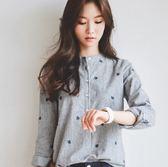 EASON SHOP(GU5236)韓版小清新中山領條紋立領長袖襯衫樹葉刺繡顯瘦