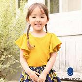 GLOBAL WORK童素色圓領吸水速乾荷葉短袖上衣-四色