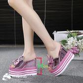 拖鞋 坡跟高跟涼鞋內增高兔耳朵防水臺松糕厚底魚嘴涼拖鞋 潮流小鋪