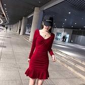 顯瘦 洋裝 修身連身裙修身顯瘦性感氣質長袖包臀連身裙NE215紅粉佳人