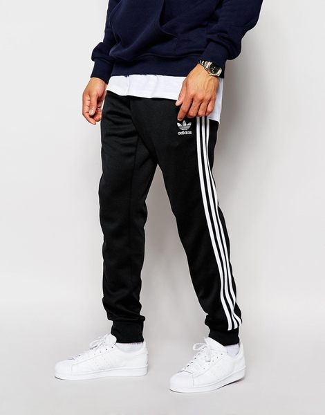 ISNEAKERS adidas Originals Superstar Cuffed 黑色棉褲 縮口褲 三間線 休閒 黑 白 AJ6960  秋冬