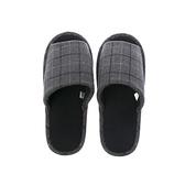 HOLA 英倫格紋保暖拖鞋-灰L