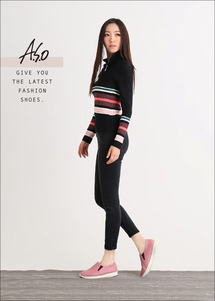 A.S.O 樂福氣墊 全真皮奈米菱格壓紋休閒鞋  粉紅