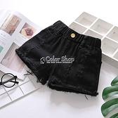 女童2021夏季牛仔短褲韓版破洞中大童黑色純棉外穿百搭寬鬆熱褲子 快速出貨