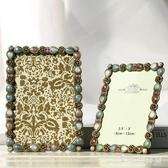 金屬彩繪相框 鑲鉆擺臺創意婚紗照相框架歐式小奢華 QX10587 『愛尚生活館』