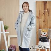 【Tiara Tiara】百貨同步aw 連帽拉練式長版大衣(灰藍/卡其)