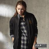 【JEEP】女裝長版棒球外套 (神秘黑)