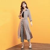 秋裝上市[H2O]可當外套側邊開襟設計襯衫風長洋裝 - 卡/咖色 #0654003