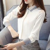 精選38折 韓系雪紡襯衫休閒白襯衣長袖上衣