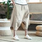 飛鼠褲泰國沙灘褲休閒亞麻短褲男裝中國風寬鬆大襠七分垮褲薄款闊腿褲夏